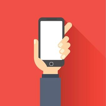 Mão segurando o telefone móvel em estilo design plano