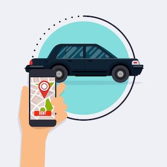 Mão segurando o telefone móvel esperto com app alugar um carro.