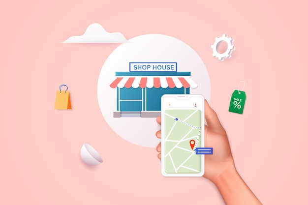 Mão segurando o telefone móvel inteligente com farmácia de pesquisa de aplicativo encontre o mais próximo no mapa da cidade 3d