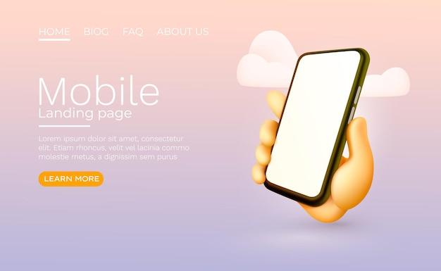Mão segurando o telefone móvel inteligente com vetor de maquete moderno de tela em branco