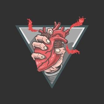 Mão segurando o vetor de ilustração de coração