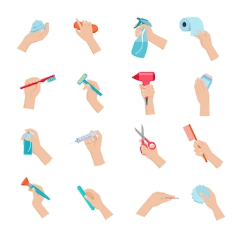 Mão segurando objetos domésticos e conjunto de ícones de acessórios de higiene