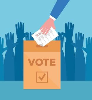 Mão segurando papel de voto e design de caixa, dia de eleições de votação e governo