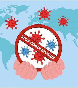 Mão segurando parada coronavírus 2019 proibição ncov