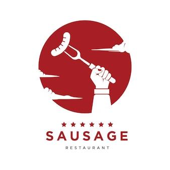 Mão segurando salsicha no fundo do círculo vermelho ilustração em vetor logotipo para restaurante de churrasco