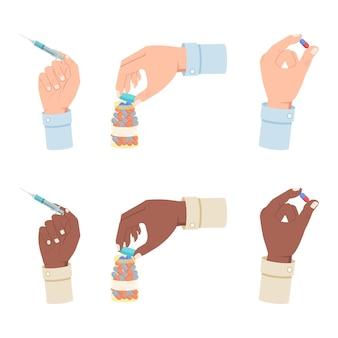 Mão segurando seringa, comprimido e recipiente com medicamentos farmacológicos