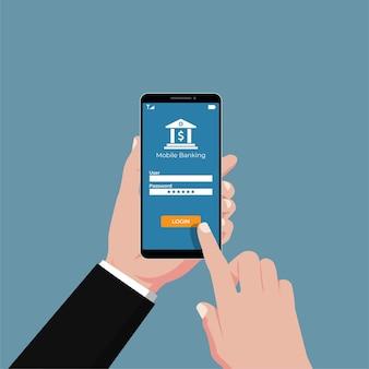 Mão segurando serviços bancários móveis na ilustração de smartphone.