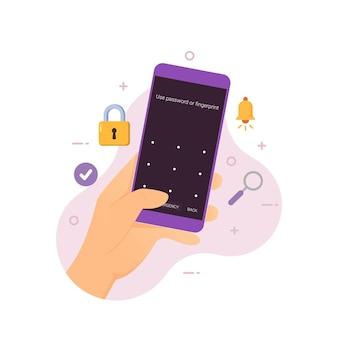 Mão segurando smartphone com ilustração vetorial de tela de bloqueio