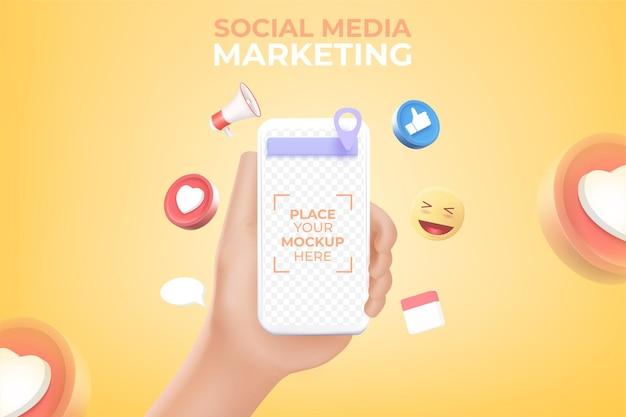 Mão segurando smartphone com renderização de mídia social de ícone