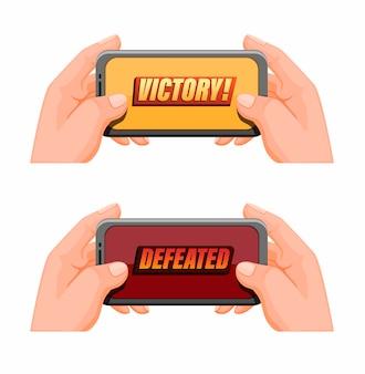Mão segurando smartphone com texto de vitória, esportes de jogos móveis em vetor de ilustração de desenho animado