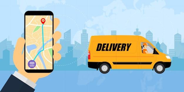 Mão segurando smartphone com uma van de entrega