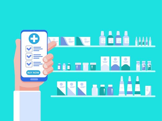 Mão segurando smartphone comprar remédio online. o conceito de farmácia online. em estilo simples
