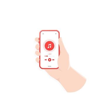 Mão segurando smartphone tocando áudio ou rádio Vetor Premium