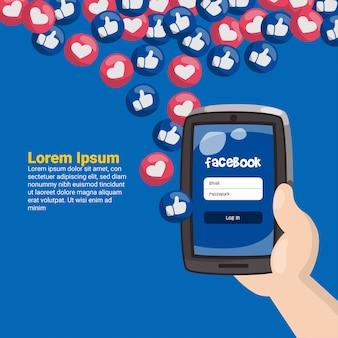 Mão, segurando, telefone móvel, com, facebook, emoticons