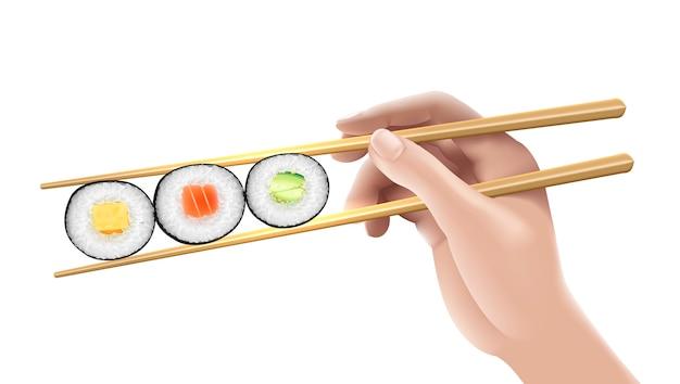 Mão segurando três ilustração de sushi.