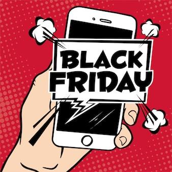Mão segurando um celular com o modelo de design de inscrição na venda black friday. vector illus