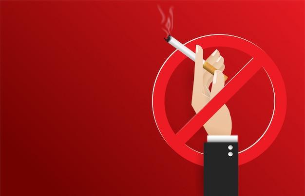Mão segurando um cigarro. ilustração do mundo do dia não fumadores do conceito. nenhum dia de tabaco
