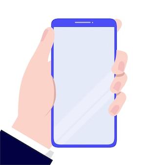 Mão segurando um conceito de smartphone. ilustração vetorial