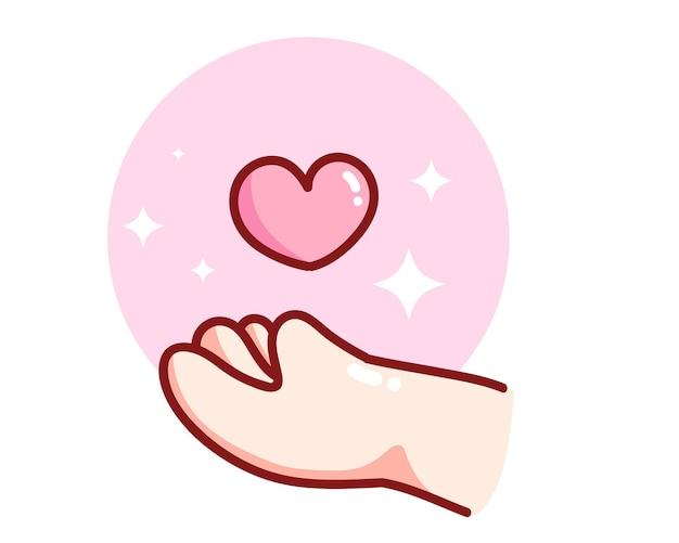 Mão segurando um coração desenhado à mão ilustração da arte dos desenhos animados