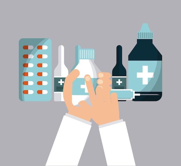 Mão segurando um frasco de medicamento