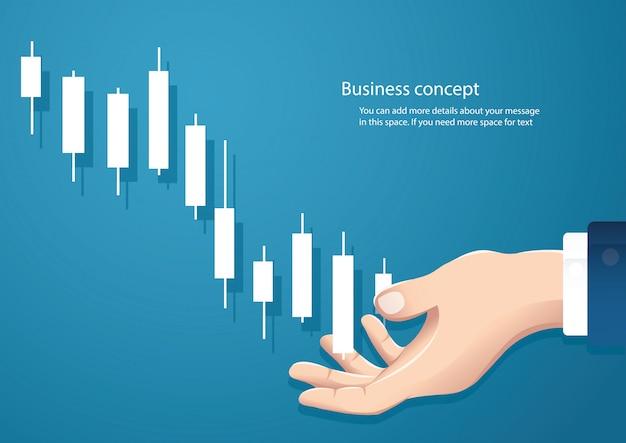 Mão segurando um fundo de vetor de mercado de ações de gráfico de castiçal