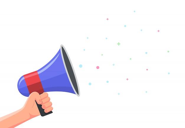 Mão segurando um megafone. conceito de marketing promocional. copyspace
