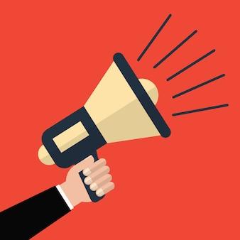 Mão segurando um megafone em um fundo vermelho. ilustração vetorial um estilo simples