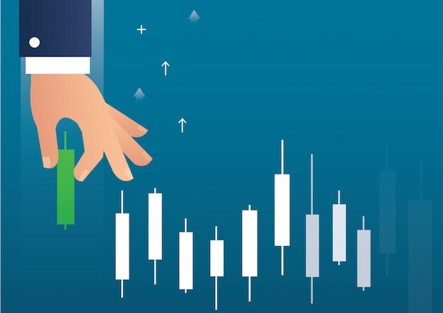 Mão segurando um mercado de ações de gráfico de castiçal