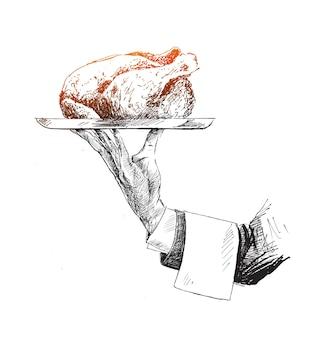 Mão segurando um prato de frango assado inteiro. ilustração em vetor esboço desenhado à mão