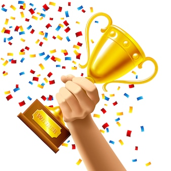 Mão segurando um prêmio de copa do troféu vencedor