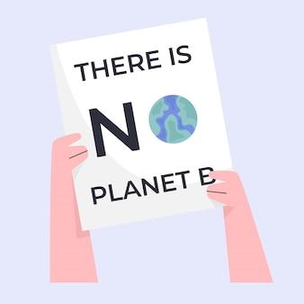 Mão segurando um quadro branco com não há palavras do planeta b