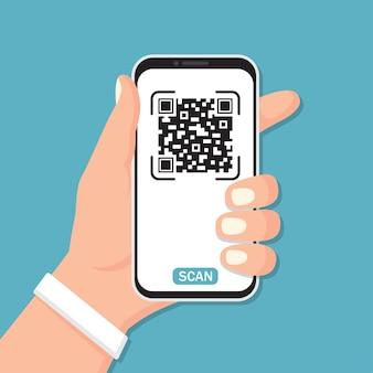 Mão segurando um smartphone com código qr em um design plano
