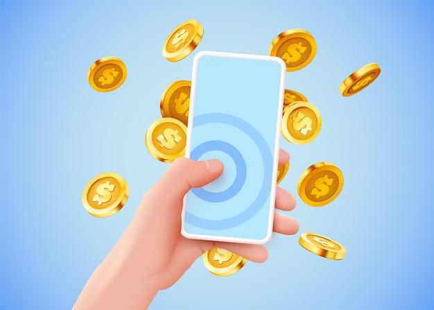 Mão segurando um smartphone com conceito de banco on-line de moedas de dólar voando