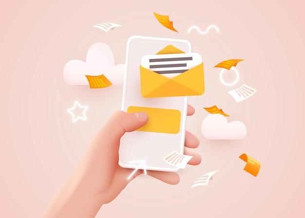 Mão segurando um smartphone móvel com aplicativo de e-mail