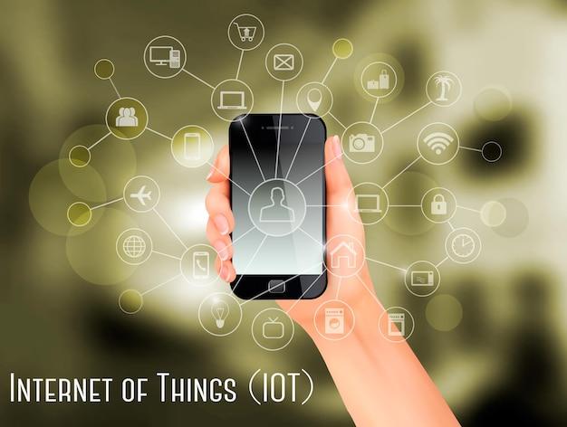 Mão, segurando um smartphone, revelando uma rede de dispositivos controlados sem fio.