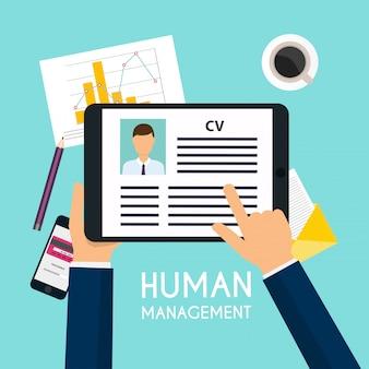Mão segurando um tablet digital com currículo cv. conceito de entrevista de emprego. escrevendo um currículo.