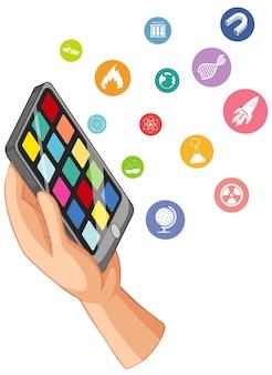 Mão segurando um telefone inteligente com ícone de educação isolado