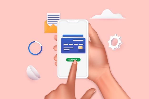 Mão segurando um telefone móvel inteligente com app shopp conceito de compras online