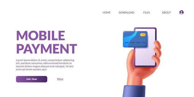 Mão segurando um telefone móvel inteligente com conceito de ilustração de ícone de cartão de crédito fofo on-line pagamento 3d