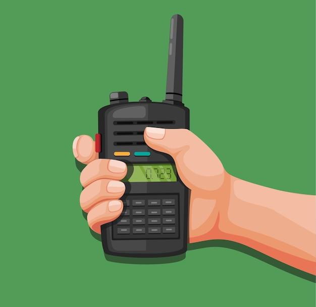 Mão segurando um walkie-talkie. cartoon de comunicação por rádio e telefone