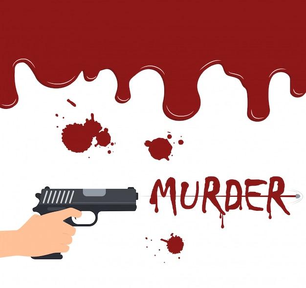 Mão segurando uma arma atirando no sangue fluindo fundo