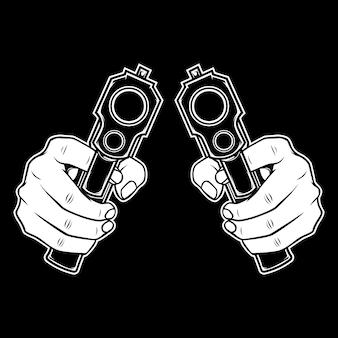 Mão segurando uma arma