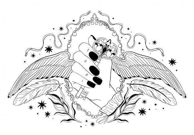 Mão segurando uma chave com asas.
