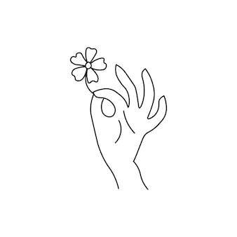 Mão segurando uma flor. estilo de linha. isolado em um fundo branco.