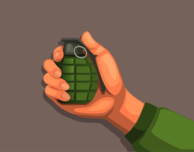 Mão segurando uma granada. cartoon de equipamento de arma de explosão do exército