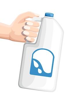 Mão segurando uma grande garrafa de plástico com leite. frasco de leite branco. ilustração em fundo branco.