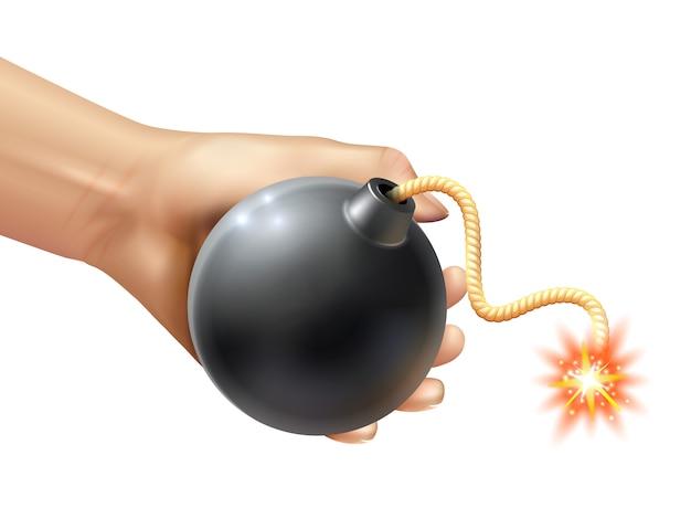 Mão segurando uma ilustração de bomba