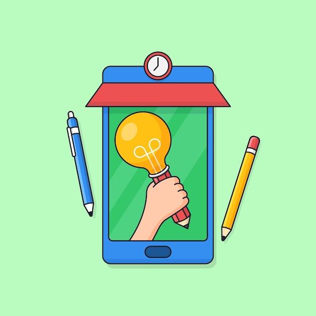 Mão segurando uma lâmpada na tela do smartphone com as ferramentas do aluno para uma aula criativa