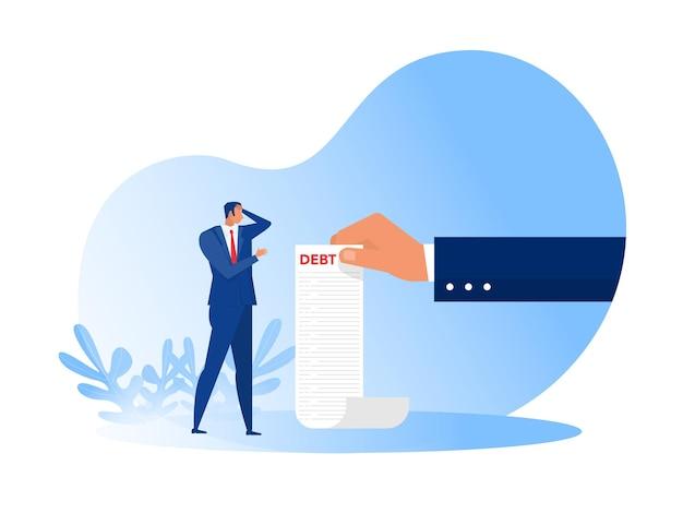 Mão segurando uma longa lista com ilustração de conceito de carta de papel de falência de empresário