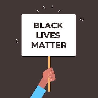 Mão segurando vidas negras importa bandeira campanha de conscientização contra a discriminação racial de cor da pele escura